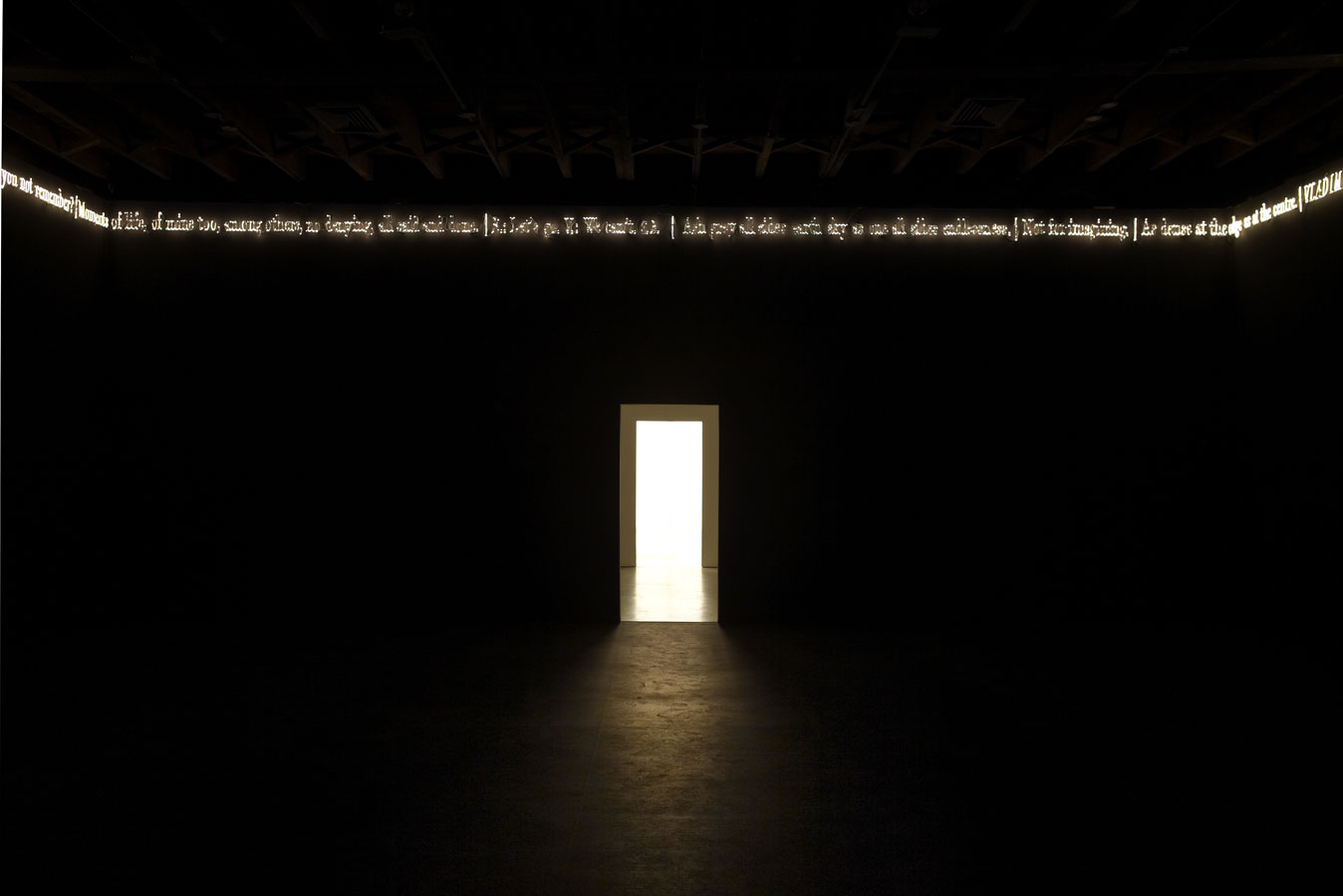 Blackened neon. Joseph Kosuth 'Text (waiting for-) for Nothing' Samuel Beckett, in play. Sean Kelly Gallery, New York, USA. Production and installation: Neonlauro, March 2011.