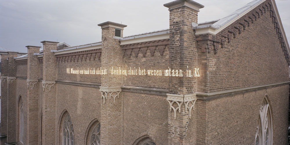 Joseph Kosuth 'Causa Sui' (Axioms For The Community). Permanent public installation. The Council of State, Den Haag/The Hague, The Netherlands. Neon installation. Production and installation: Neonlauro, July 2010. Photo: Timothy Mason.