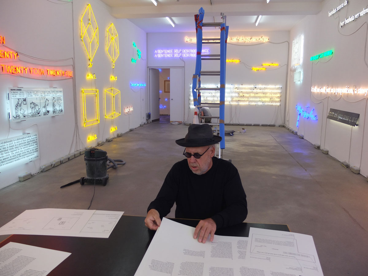 Joseph Kosuth during installation at Sprüth Magers gallery, Berlin. April 2013.