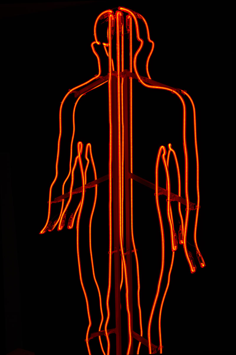 Mohamed El Baz 'Two Mid Person'. Imane Fares gallery, Paris, France. Neon installation. Production: Neonlauro, February 2014. Photo: Alan Chies.