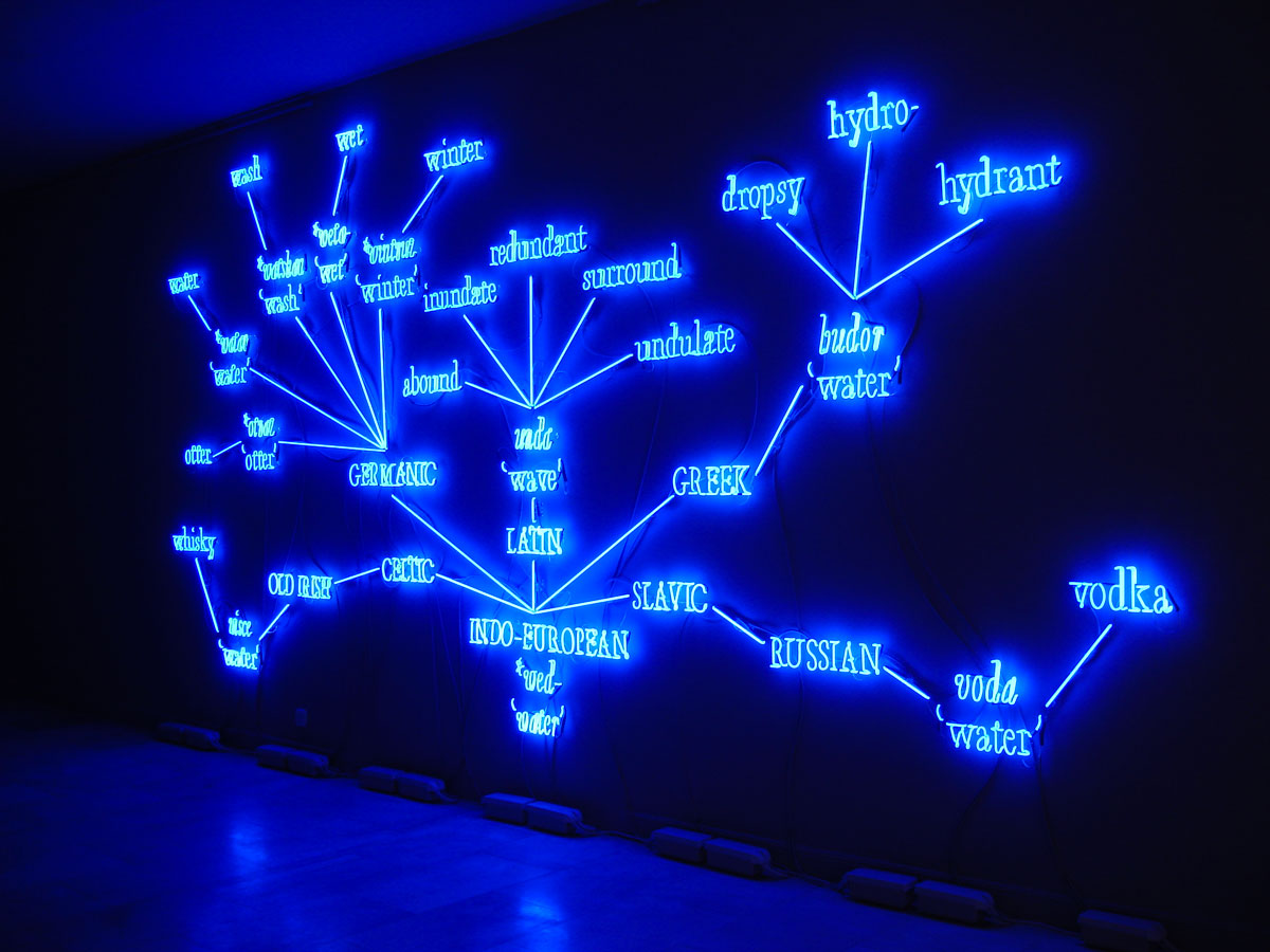Joseph Kosuth 'W.F.T.' (Word Family Tree). Juana De Aizpuru gallery, Madrid, Spain. Neon mounted directly on wall. Production and installation: Neonlauro, September 2008.