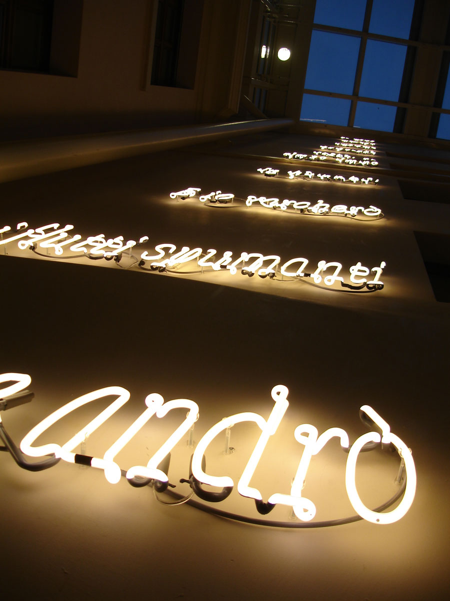 Joseph Kosuth 'The Language of Equilibrium, a part'. Lombard Odier Private Bank, Geneva, Switzerland. Neon mounted directly on wall. Production and installation: Neonlauro, October 2008.