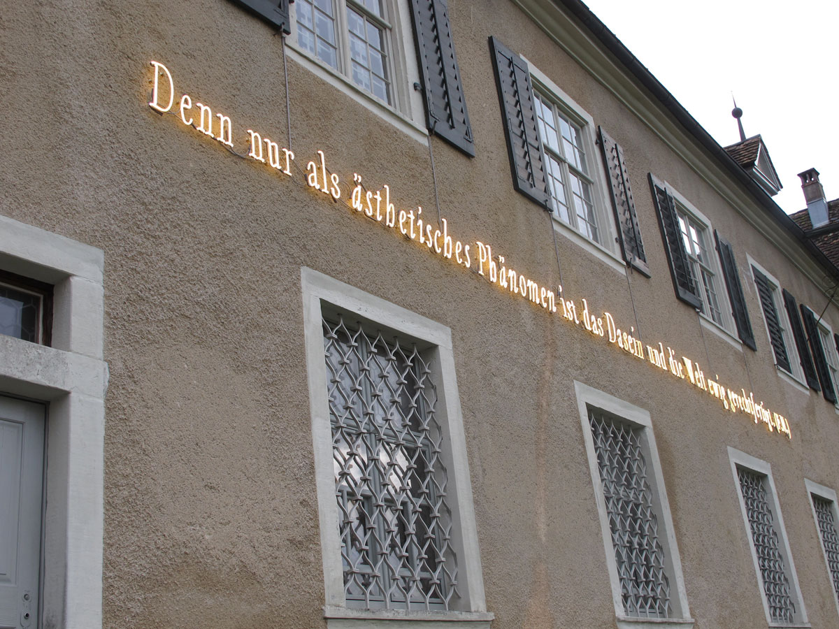 Joseph Kosuth 'Das Dasein und die Welt'. Neon Mounted directly on wall. Kunstmuseum Thurgau Kartause Ittingen, Warth, Switzerland. Production and Installation: Neonlauro, January 2014. © Kunstmuseum Thurgau.