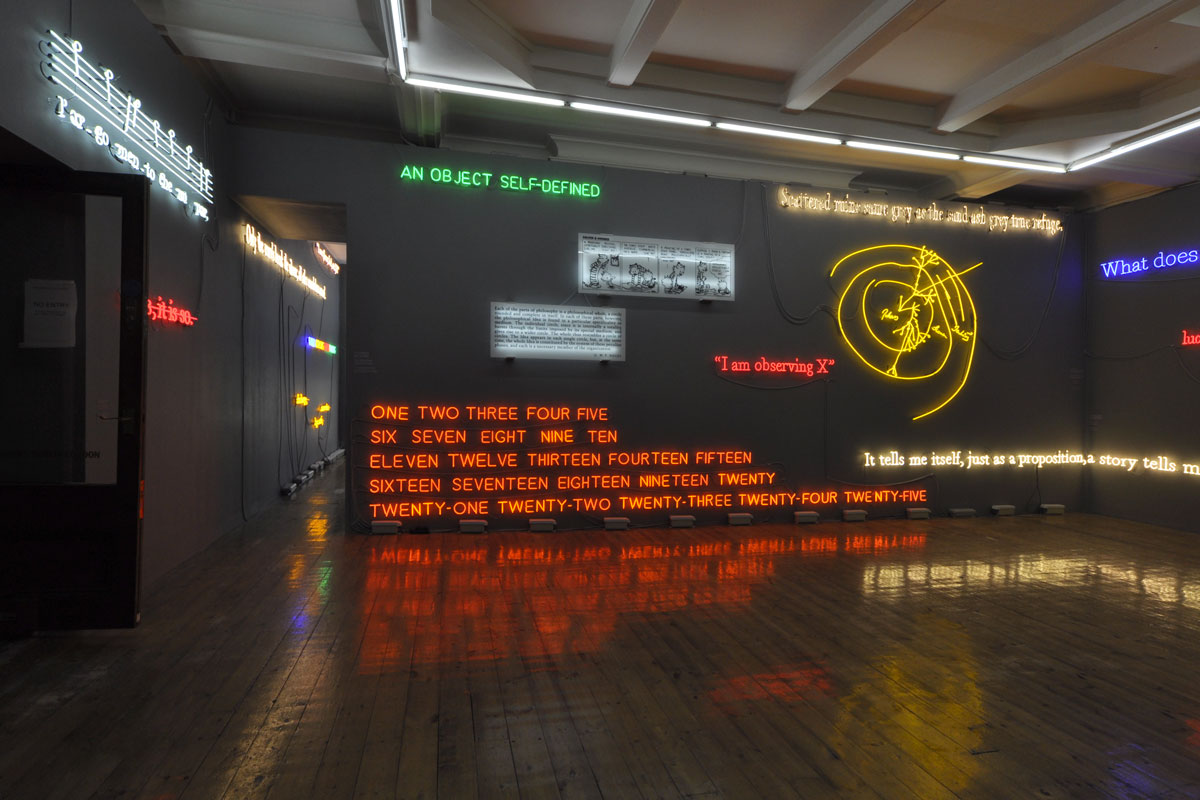 Joseph Kosuth 'Amnesia: Various, Luminous, Fixed'. Sprüth Magers gallery, London, UK. Neon mounted directly on wall. Production and installation: Neonlauro, November 2014.