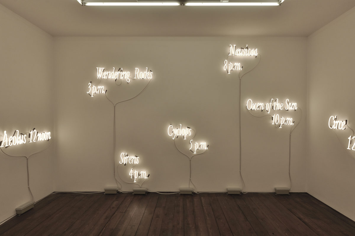 Joseph Kosuth 'Ulysses, 18 Titles and Hours'. Solo exhibition 'Amnesia: Various, Luminous, Fixed'. Sprüth Magers gallery, London, UK. Neon mounted directly on wall. Production and installation: Neonlauro, November 2014.