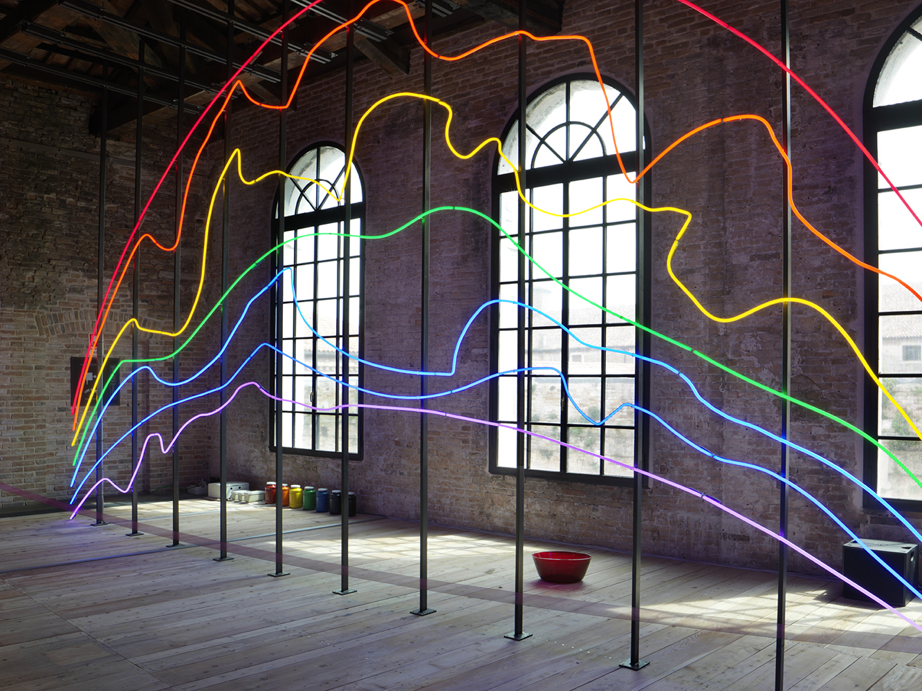 Sarkis Zabunyan 'Respiro'. Turkish Pavillon, 56th Venice Art Biennale. Neon and metal structure. Production and installation: Neonlauro. April 2015.